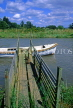 UK, Sussex, Arundel, River Arun, small boat and pier, UK5526JPL
