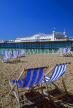 UK, Sussex, BRIGHTON, Palace Pier and deckchairs, UK5225JPL