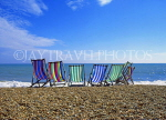 UK, Sussex, BRIGHTON, beach and deckchairs, UK5231JPL