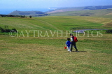 UK, Sussex, EASTBOURNE, Beachy Head, countryside view two children walking, UK4434JPL
