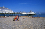 UK, Sussex, EASTBOURNE, Pier, and beach with sunbathers, UK4407JPL