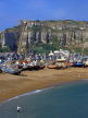 UK, Sussex, HASTINGS, Fishermen's Beach, boats and East Cliffs, HAS17JPL