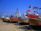 UK, Sussex, HASTINGS, Fishermen's Beach, fishing boats lined up by The Stade, HAS26JPL