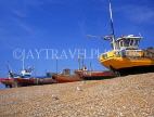 UK, Sussex, HASTINGS, Fishermen's Beach, fishing boats lined up by The Stade, HAS29JPL