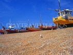 UK, Sussex, HASTINGS, Fishermen's Beach, fishing boats lined up by The Stade, HAS32JPL