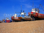 UK, Sussex, HASTINGS, Fishermen's Beach, fishing boats lined up by The Stade, HAS34JPL