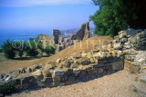 UK, Sussex, HASTINGS, Hastings Castle ruins, HAS76JPL