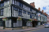 UK, Warwickshire, STRATFORD-UPON-AVON, Chapel Street, half timbered buildings and Falcon Pub, UK7154JPL