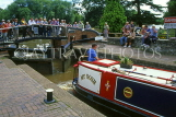 UK, Warwickshire, STRATFORD-UPON-AVON, Stratford Canal Basin, narrow boat at lock, UK5921JPL