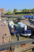 UK, Warwickshire, STRATFORD-UPON-AVON, Stratford Canal Basin, narrow boats at lock, UK25478JPL