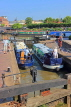 UK, Warwickshire, STRATFORD-UPON-AVON, Stratford Canal Basin, narrow boats at lock, UK25479JPL