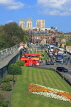 UK, Yorkshire, YORK, City Walls, York Minster in background, and tour bus, UK3135JPL