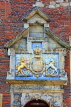 UK, Yorkshire, YORK, King's Manor entrance, coat of arms of Charles I, University of York, UK3297JPL
