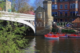 UK, Yorkshire, YORK, Lendal Bridge over River Ouse, and pleasure boats, UK9814JPL