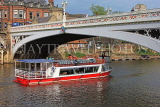 UK, Yorkshire, YORK, Lendal Bridge over River Ouse, sightseeing boat passing under, UK9836JPL