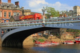 UK, Yorkshire, YORK, Lendal Bridge over River Ouse, tour bus and boats, UK9931JPL