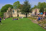 UK, Yorkshire, YORK, Museum Gardens, St Mary's Abbey ruins, people enjoying a sunny day, UK3244JPL