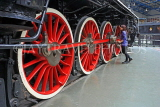 UK, Yorkshire, YORK, National Railway Museum, vintage steam engine wheels, UK3014JPL