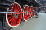 UK, Yorkshire, YORK, National Railway Museum, vintage steam engine wheels, UK3016JPL