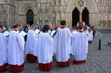 UK, Yorkshire, YORK, York Minster, Sunday Easter parade, clergy and congregation, UK3265JPL