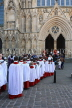 UK, Yorkshire, YORK, York Minster, Sunday Easter parade, clergy and congregation, UK3266JPL