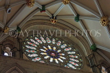 UK, Yorkshire, YORK, York Minster, interior, stained glass rose window, UK3000JPL
