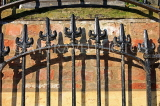 UK, Yorkshire, YORK, wrought iron railing by a riverside house, UK9832JPL