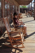 USA, California, Calico Ghost Town, restaurant rocking chairs, US4846JPL