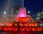 USA, Illinois, CHICAGO, Buckingham Fountain and night skyline, CHI709JPL