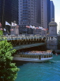 USA, Illinois, CHICAGO, pleasure boat passing under Michigan Avenue Bridge, US2667JPL