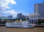 USA, Louisiana, NEW ORLEANS, Downtown skyline and Cajun Queen boat on Mississippi River, LOU113JPL