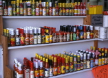 USA, Louisiana, NEW ORLEANS, French Quarter, French Market, hot and spicy sauces, LOU154JPL