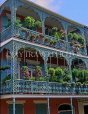 USA, Louisiana, NEW ORLEANS, French Quarter, architecture, ironwork balconies with floral baskets, LOU128JPL