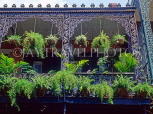 USA, Louisiana, NEW ORLEANS, French Quarter, architecture, ironwork balcony and fern baskets, LOU126JPL