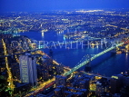 USA, New York, MANHATTAN, Brooklyn Bridge and Manhattan Bridge, night view, NYC410JPL