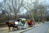 USA, New York, MANHATTAN, Central Park, horse drawn carriages (for tourists), US2843JPL