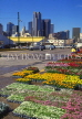 USA, Texas, DALLAS, Farmers Market, flower stalls and city view, DAL201JPL