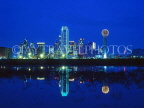 USA, Texas, DALLAS, night skyline and Trinity River reflection, DAL02JPL