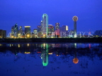 USA, Texas, DALLAS, night skyline and Trinity River reflection, DAL05JPL