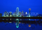 USA, Texas, DALLAS, night skyline and Trinity River reflection, DAL08JPL