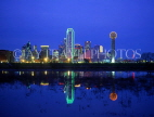 USA, Texas, DALLAS, night skyline and Trinity River reflection, DAL4JPL