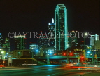 USA, Texas, DALLAS, night view and NCNB Texas Plaza Tower, DAL14JPL