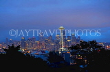 USA, Washington, SEATTLE, skyline and Space Needle Tower, night view, US4250JPL