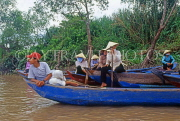 VIETNAM, Mekong Delta, people traveling by boat on Mekong River, VT695JPL
