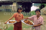 VIETNAM, Mekong Delta, two sweet sellers (girls) posing, VT416JPL