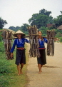 VIETNAM, Son La Province, rural women carrying wood bundles, VT282JPL