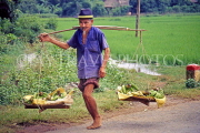 VIETNAM, Son La Province, vendor with bananas in baskets, VT283JPL