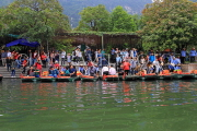 Vietnam, Ninh Binh, TRANG AN, tourists boarding for boat tour, VT2225JPL