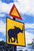 ZIMBABWE, roadside warning sign for elephants, ZIM46JPL